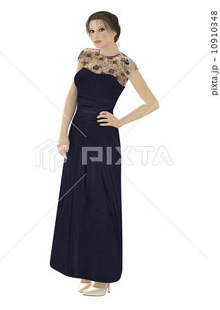 ロングドレスの女性 合成用背景透過pngイラスト素材