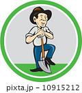 Farmer Shovel Standing Cartoon 10915212