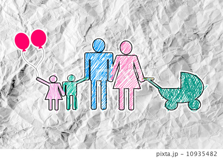 People Family icon Pictogram People on crumpled paperのイラスト素材 [10935482] - PIXTA