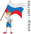soccer fan holds russian flag 10957904