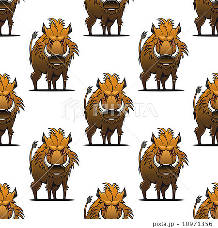 Fierce angry wild boar or warthog seamless pattern 10971356