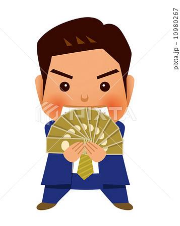 お札を広げるビジネスマン 10980267