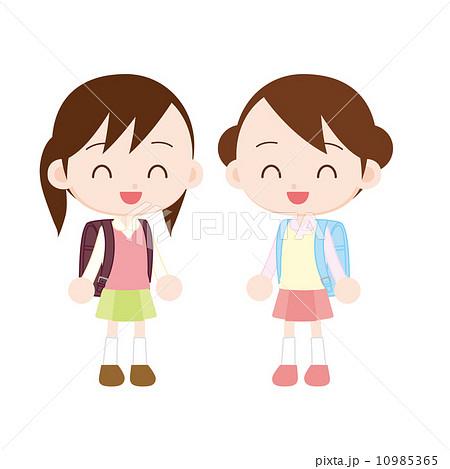 カラーランドセル 小学生の女の子2人のイラスト素材 10985365 Pixta