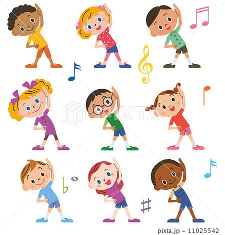 子供達がラジオ体操をするのイラスト素材 11025542 Pixta