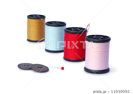 colorful sewing Threads isolated on white backgroundの写真素材 [11030092] - PIXTA
