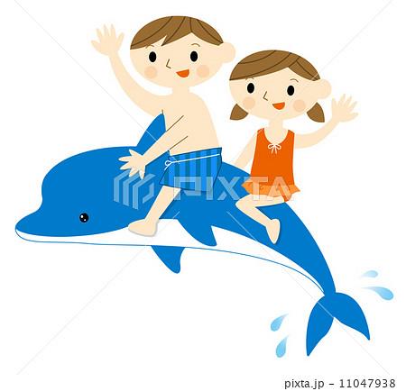 イルカに乗る子供のイラスト素材 11047938 Pixta