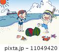 手書きイラスト(ベクター有り)砂浜でスイカ割りする子供たち 11049420