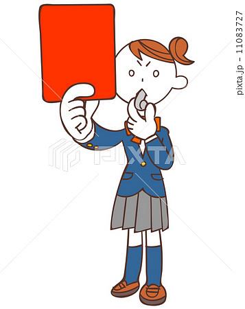 レッドカードを出す女子学生  11083727