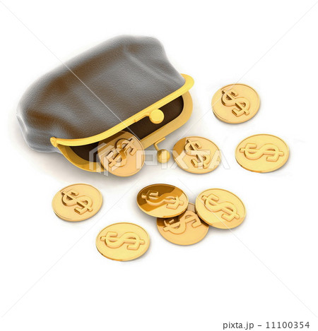 3d illustration of a purse and money 11100354