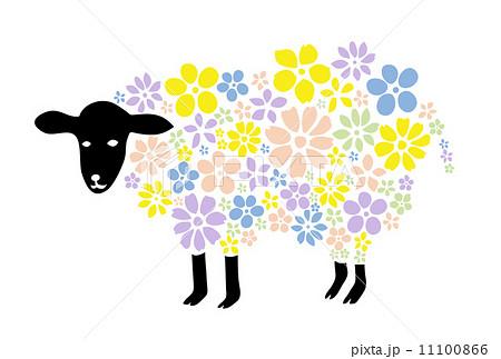 羊と花のイラスト素材 11100866 Pixta