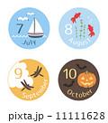 季節のイラスト 7~10月 丸型 11111628