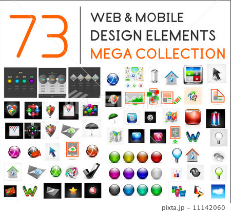 Mega collection of web mobile design elements 11142060