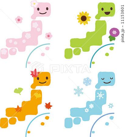 日本列島と春夏秋冬のイメージのイラスト素材 11153601 Pixta