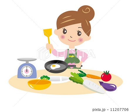 料理するママのイラスト素材 11207706 Pixta