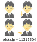 スーツの男性 表情 おすすめ、案内、笑顔、困惑  11212604
