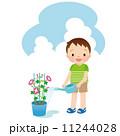 水やり 子供 朝顔のイラスト 11244028
