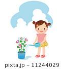 水やり 子供 朝顔のイラスト 11244029