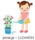 水やり 子供 朝顔のイラスト 11244033