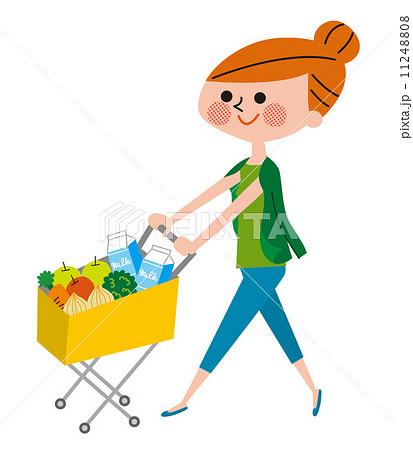 ショッピング カートを押す女性のイラスト素材 11248808 Pixta