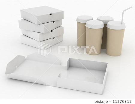 White boxes for pizza and white  containers for cola with tubuleのイラスト素材 [11276315] - PIXTA