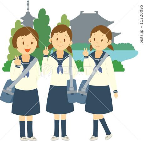 修学旅行で記念写真を撮る中学生女子 11320095