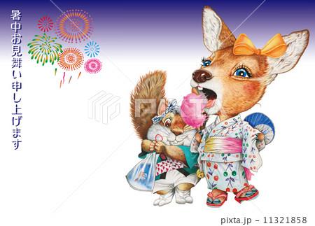 花火と子鹿とリスの夏祭りの暑中見舞い状のイラスト素材 [11321858] - PIXTA