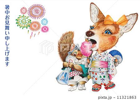 花火と子鹿とリスの夏祭りの暑中見舞い状のイラスト素材 [11321863] - PIXTA