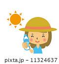 暑さ対策 熱中症対策 女性のイラスト 11324637