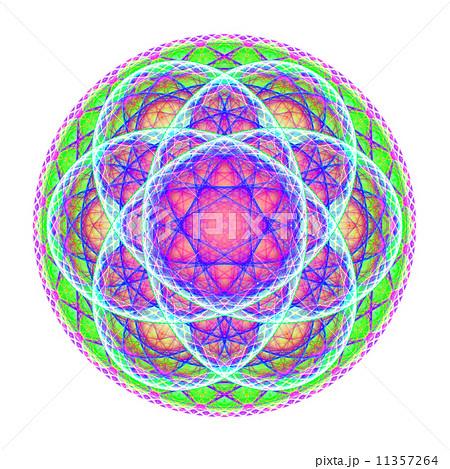Green blue purple mandala on white background 11357264