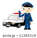 パトカー 警察官 敬礼のイラスト 11365319