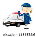 警察官 パトカー 敬礼のイラスト 11365336