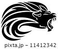 lion head tribal design - black and white vector mane swirls 11412342