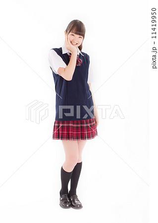 制服を着た可愛らしい女子校生 11419950