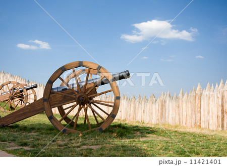 ancient cannon battery in wooden fortress 11421401