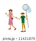 昆虫採集 夏 子供 姉弟 手を繋ぐ 11421870