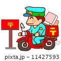 郵便屋さん 配達 バイクのイラスト 11427593