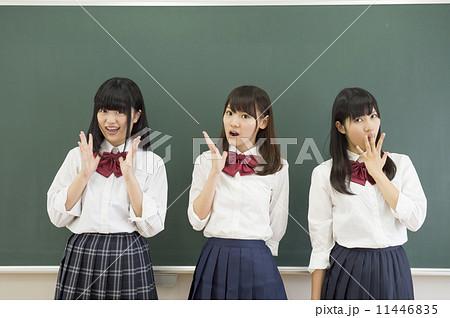 黒板の前に立つ女子高生 11446835