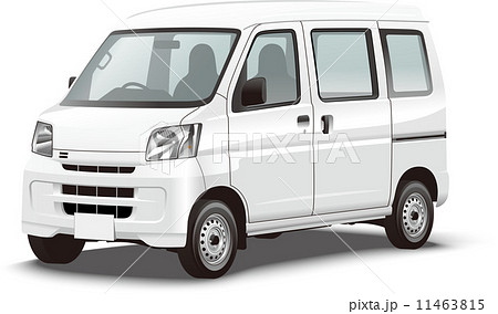 商用車イラスト 軽ワンボックス営業車 カラーリングベース リアルな軽のイラスト 11463815