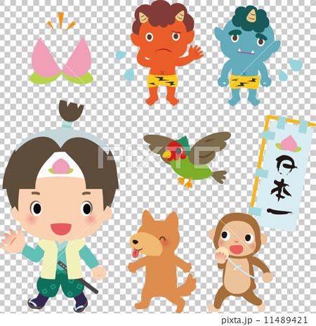 桃太郎,狗,猴子,野雞和惡魔 11489421