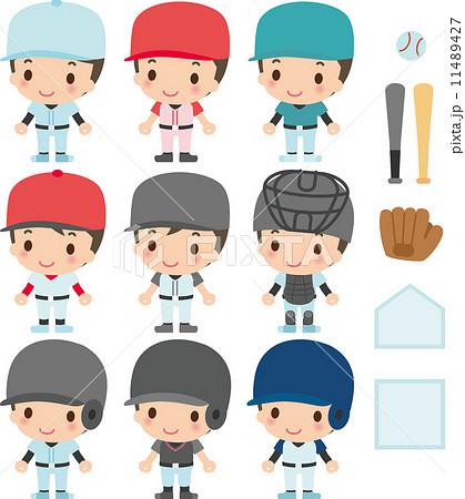 9人の野球選手と道具 11489427