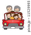 ドライブ 三世代 家族のイラスト 11529993