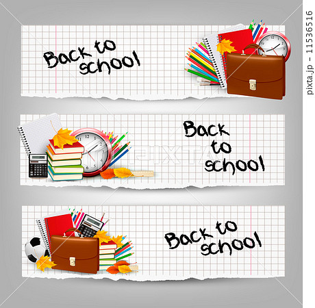 Back to school. Three banners with school supplies and autumn leのイラスト素材 [11536516] - PIXTA