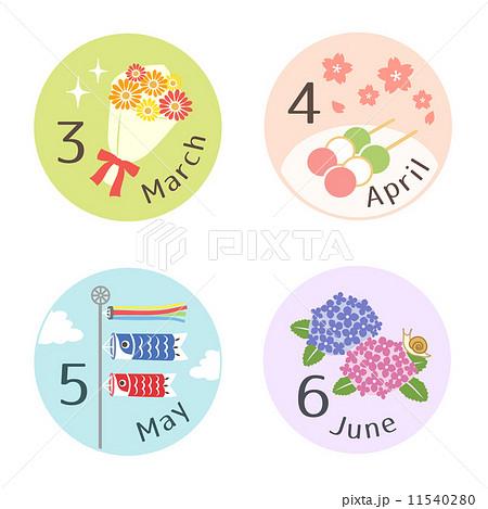 季節のイラスト 36月 丸型のイラスト素材 11540280 Pixta