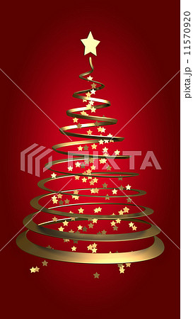 Christmas gold ribbon tree on red background 11570920