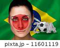 愛好家 フェイスペイント サッカーの写真 11601119