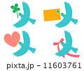 青い小鳥(四つ葉のクローバー・封筒・ハート・リボン) 11603761