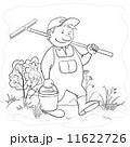 Man gardener in a garden, contours 11622726