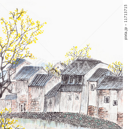Traditional Chinese painting of old country house landscape 11713715
