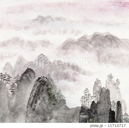 Chinese painting of high mountain landscape 11713717