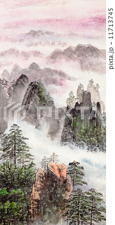Chinese painting of high mountain 11713745